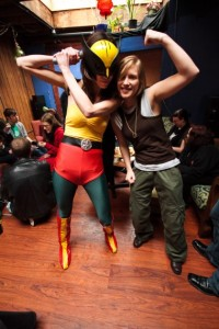 Susie and Stephanie cosplaying it up as Hawkgirl and Starbuck, respectively
