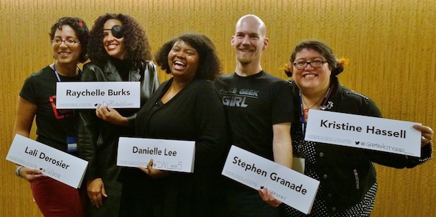 Photo by Serene Careaga. L-R: Lali DeRosier (@LalSox), Raychelle Burks  (@DrRubidium), Danielle Lee (@DNLee5), Stephen Granade (@Sargent), and Kristine Hassell (@GermanCityGirl).