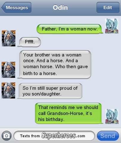 The possibilities in imagined worlds are not restricted by the rules of the actual world. Image source: Texts from Superheroes