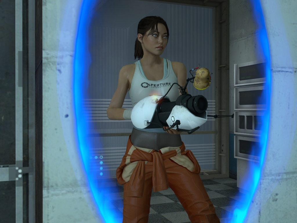 One of the rare instances in which we see Chell in-game.