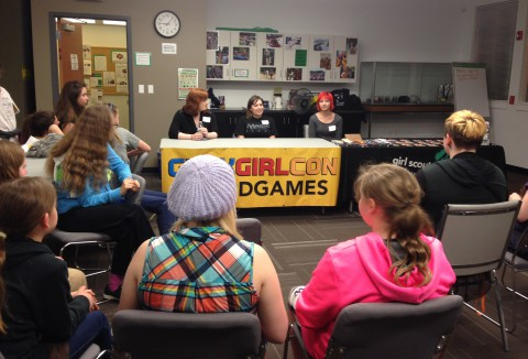 Caption: L-R Alyssa, Jackie, and Liz shared their love of gaming and answered questions about their careers.