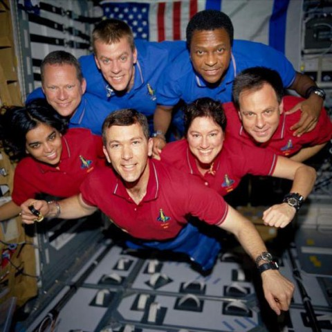 Chawla with the rest of the STS-107 shuttle Columbia crew in orbit. This image was recovered from wreckage inside an undeveloped film canister. Image source: Space.com