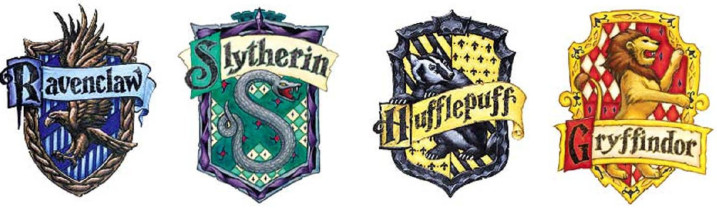 The classic Hogwarts Houses.