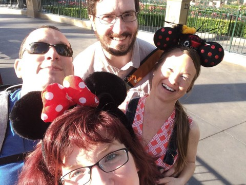 You see AMY GRADZEWICZ at Disneyland with, from left above AMY GRADZEWICZ, her husband Jim, her friend Greg, and her friend Tasia.