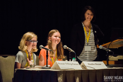 Rowan and Maddie during the Q&A session. Image source: GeekGirlCon