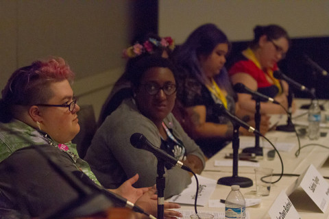 The panelists, sharing and talking. Source: GeekGirlCon flickr.