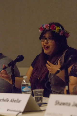 Kim Correa, at the panel. Source: GeekGirlCon flickr.