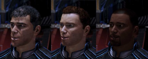 "Cortez, as shown in the different stages his model went through. According to a post on the Bioware forums by an employee [link: http://forum.bioware.com/topic/252459-landing-in-the-hot-zone-steve-cortez-discussion-thread/page-120], Cortez's final skintone choice was made pretty late in the process and the designers ""didn't have time to adjust their lighting for his darker skin tone,"" which means that in lots of the shots, he's barely visible."