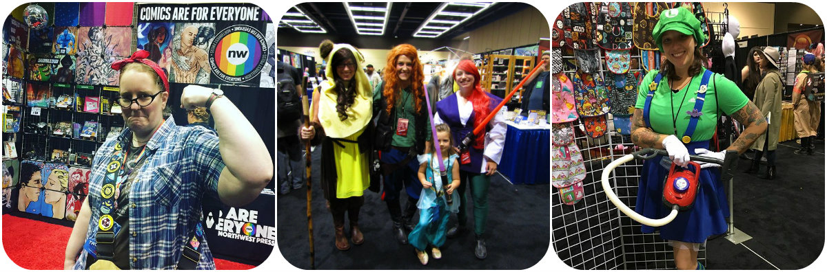 Cosplayers in GeekGirlCon's 2016 exhibitors floor. Our exhibitor floor expansion was possible thanks to people who sponsored us! (Credit from left to right: Rosie from Lumberjanes cosplay @sp00kyaction Instagram, photo via Instagram Disney Star Wars cosplay, photo via Twitter user @Joi_the_Artist;Luigi's Haunted Mansion cosplay, photo via @ro.higashi Instagram.