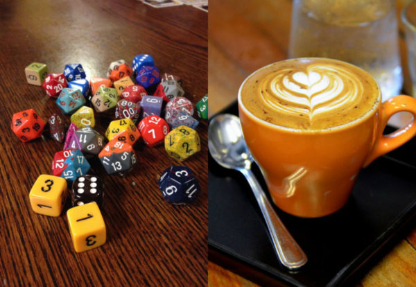 Dice and coffee, a beautiful pairing.