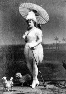 Lydia Thompson in Robinson Crusoe, c. 1870. (source wikipedia public domain)
