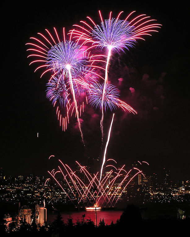 Source: Wikimedia Commons. Description: fireworks exploding over Seattle.