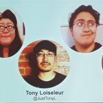 Source: me. Description: an image of a PowerPoint slide featuring round headshots of the five panelists with their names and twitter handles.