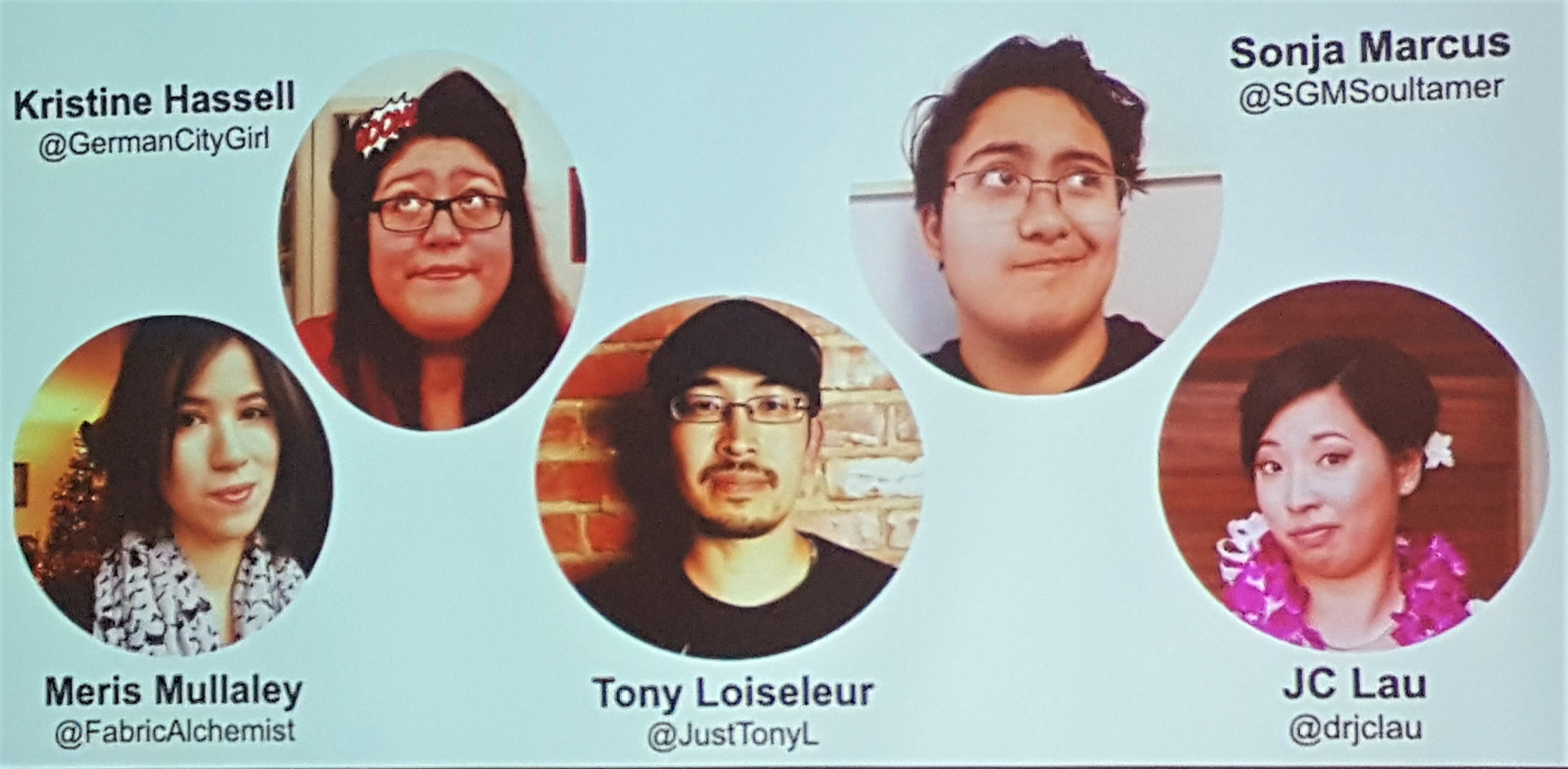 Image description: an image of a PowerPoint slide from GGC'17's Breaking the Bamboo Ceiling, featuring round headshots of Jo and the four other panelists with their names and twitter handles. Source: me.